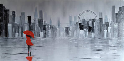 London Eye Painting - Lady In Red Dress And Red Umbrella Walking Alone Through A Storm by Russell Collins