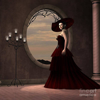 Lady In Red Dress Art Print by Corey Ford