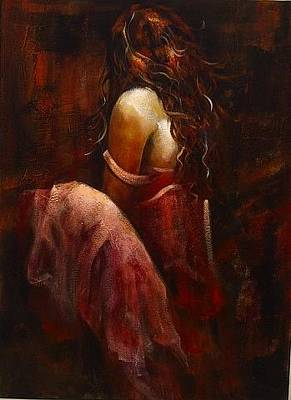 Abstact Realism Painting - Lady In Red by Estelle Hartley