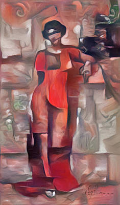 Abstract Painting - Lady In Red by Georgiana Romanovna