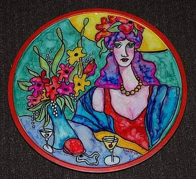 Lazy Mixed Media - Lady In Red Lazy Susan by Mickie Boothroyd