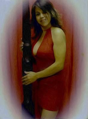 Lady In Red Art Print by Maribel McIntosh