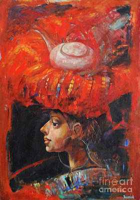 Face Jug Painting - Lady In Red by Michal Kwarciak