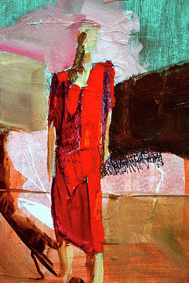 Art Print featuring the painting Lady In Red by Nancy Merkle