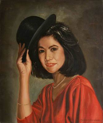 Painting - Lady In Red by Rosencruz  Sumera