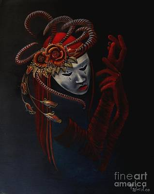 Plaster Mask Painting - Lady In Red by Shauna Eggleston