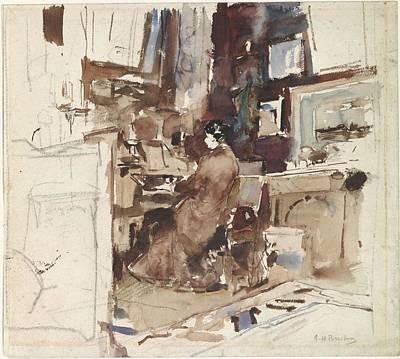Holiday Pillows 2019 - Lady in studio behind harmonium, George Hendrik Breitner, 1867 - 1923 by George Hendrik Breitner