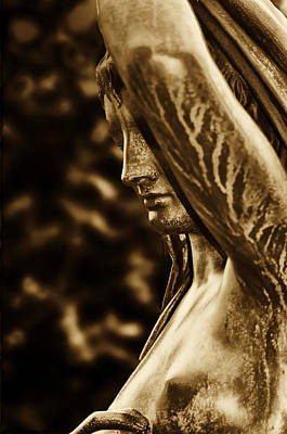 Lady In The Garden In Sepia Art Print by Bill Cannon