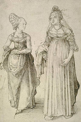 Drawing - Lady In Venetian Dress Contrasted With A Nuremberg Hausfrau by Albrecht Durer