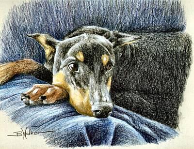 Dobe Drawing - Lady In Waiting by Barbara Walker