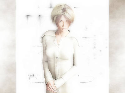 Digital Art - Lady In White by Charles McChesney