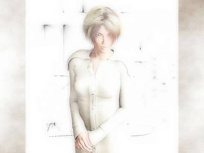 Digital Art - Lady In White by Charles McChesney