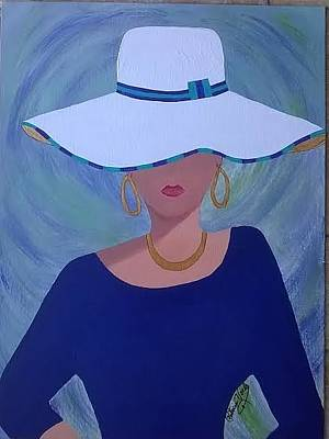 Painting - Lady In White Hat by Patricia Voelz