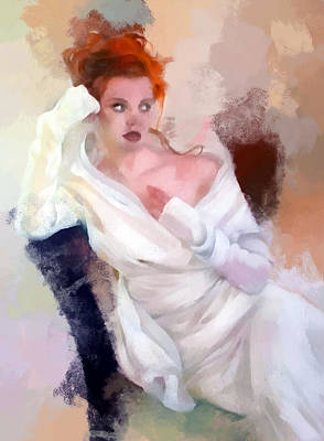 Portrait Painting - Lady In White by Peter Kupcik