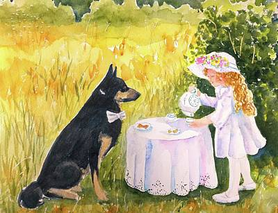 Painting - Lady Isabella Invites Mr. Darcy To Tea by CarlinArt Watercolor