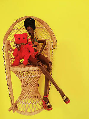Sculpture - Lady Iyah and Little Bear on Wicker Chair by Nadia Francis
