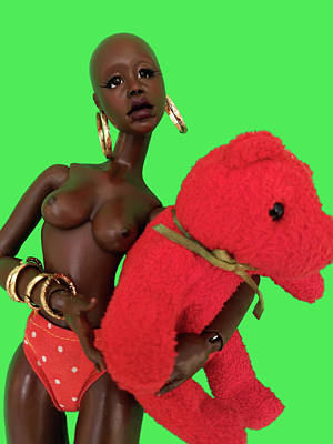 Sculpture - Lady Iyah and Red Bear Green by Nadia Francis