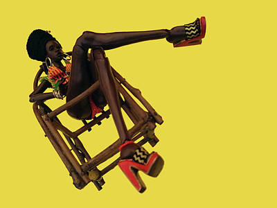 Sculpture - Lady Iyah in Wooden Chair by Nadia Francis
