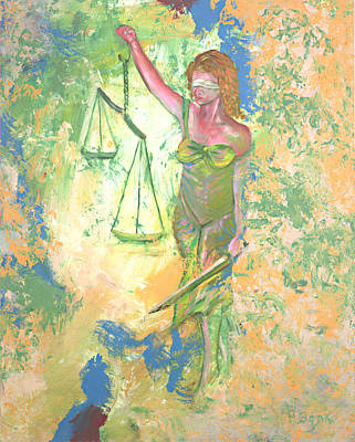 Painting - Lady Justice And The Man by Peter Bonk