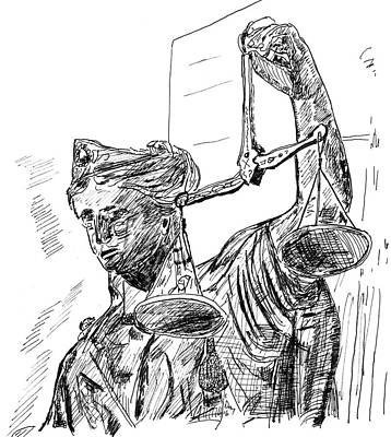 County Courthouse Statue Painting - Lady Justice by Day Williams