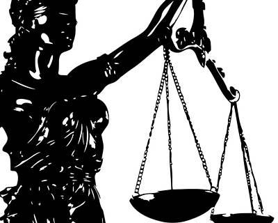 Lawyer Digital Art - Lady Justice Poster Black White by Flo Karp