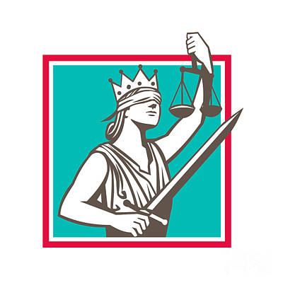 Raising Digital Art - Lady Justice Raising Scales Sword Square Retro by Aloysius Patrimonio