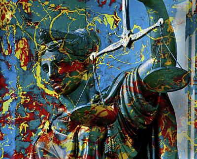 Lady Justice Painting - Lady Justice Under Fire by Day Williams