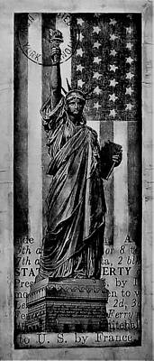 Photograph - Lady Liberty And The American Flag B W by Rob Hans