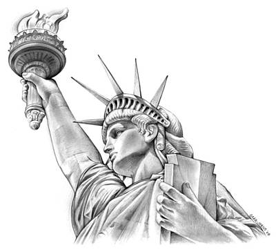 Landmark Drawing - Lady Liberty by Greg Joens