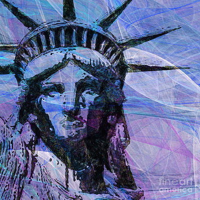 4th July Digital Art - Lady Liberty Head 20150928 Square P180 by Wingsdomain Art and Photography