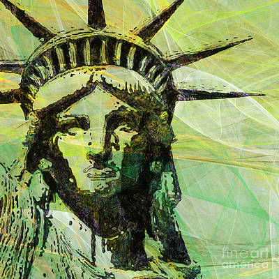 4th July Digital Art - Lady Liberty Head 20150928 Square P28 by Wingsdomain Art and Photography