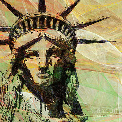 4th July Digital Art - Lady Liberty Head 20150928 Square by Wingsdomain Art and Photography