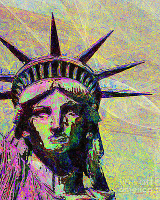 4th July Digital Art - Lady Liberty Head 20150928dap2 by Wingsdomain Art and Photography