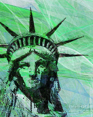4th July Digital Art - Lady Liberty Head 20150928p100 by Wingsdomain Art and Photography