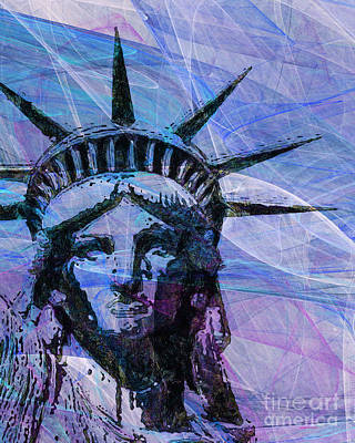 4th July Digital Art - Lady Liberty Head 20150928p180 by Wingsdomain Art and Photography
