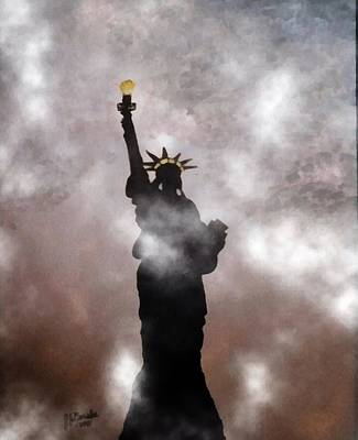Photograph - Lady Liberty In Fog by Joseph Frank Baraba