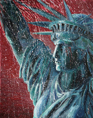 Lady Liberty In The Rain Print by Alan Schwartz