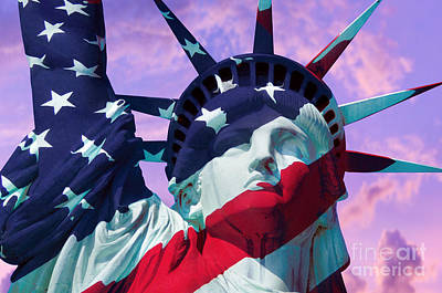 Us Flag Photograph - Lady Liberty Patriot by Jon Neidert