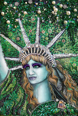 Bead Embroidery Painting - Lady Liberty Portrait. Jeweled Bead Embroidery by Sofia Metal Queen