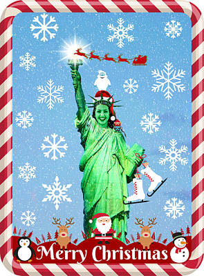 Mixed Media - Lady Liberty's Got The Christmas Spirit Iv by Aurelio Zucco