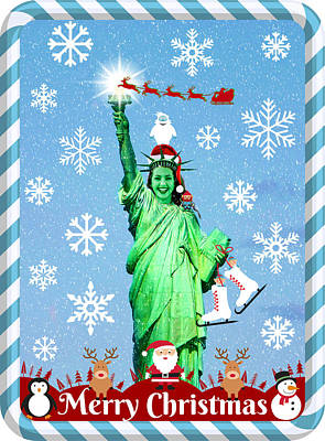 Mixed Media - Lady Liberty's Got The Christmas Spirit V by Aurelio Zucco