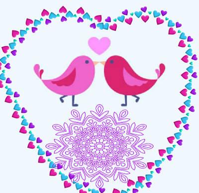 Lovebird Digital Art - Lady Lovebirds. by Jacqueline Smith