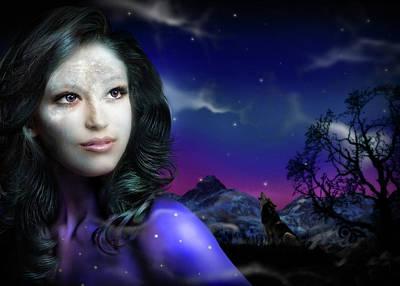 Digital Art - Lady Moon by Alessandro Della Pietra