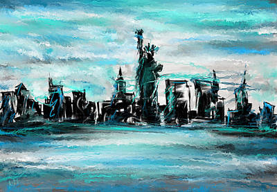 Abstract Skyline Painting - Lady Of Liberty Turquoise by Lourry Legarde