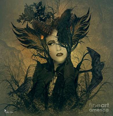 Digital Art - Lady Of The Crows by Ali Oppy