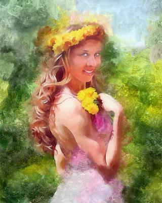 Lady Of The Dandelions Art Print by Peter Kupcik