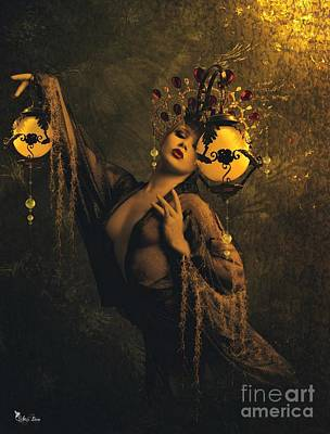 Ball Gown Digital Art - Lady Of The Golden Lamps by Ali Oppy