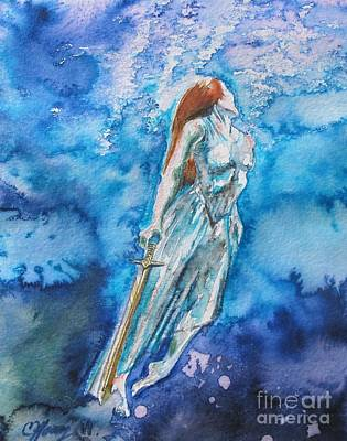 Excalibur Painting - Lady Of The Lake by Christine Kfoury