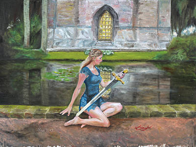 Excalibur Painting - Lady Of The Lake by Wade Douglas