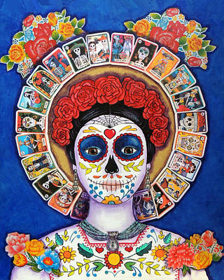 Painted Face Painting - Lady Of The Loteria by Candy Mayer